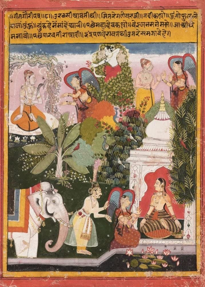 Classic Indian Art 'The Gods Orchestrate a Match Between Shiva and Gauri', Rajput, 17th Century, Reproduction 200gsm A3 Vintage Poster