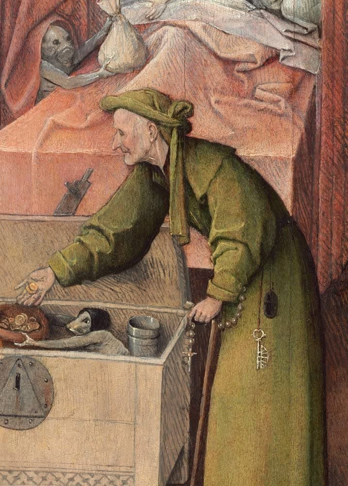 Hieronymus Bosch 'The Payment, from Death and The Miser, Detail', Netherlands, 1485-90, Reproduction 200gsm A3 Vintage Classic Art Poster