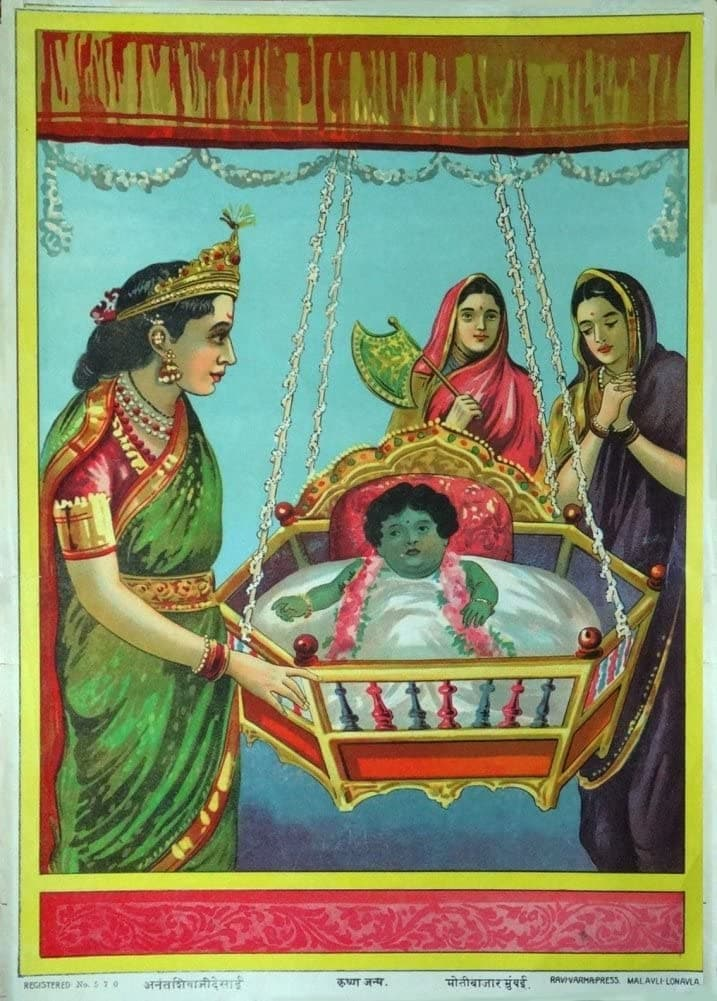 Classic Indian Art 'The Birth of Krishna', Ravi Varma Press, c,1910-20, Reproduction 200gsm A3 Vintage Poster