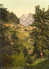 Vintage Travel Switzerland 'Zmutt Valley with MischaBelhorner Group, Valais, Alps', Circa 1890-1910, Reproduction 200gsm A3 Vintage Photography Travel Poster
