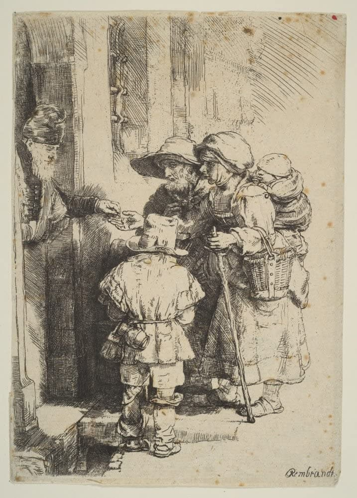Rembrandt 'Beggars Receiving Alms at The Door of a House', Netherlands, 1648, Reproduction 200gsm A3 Vintage Classic Art Poster
