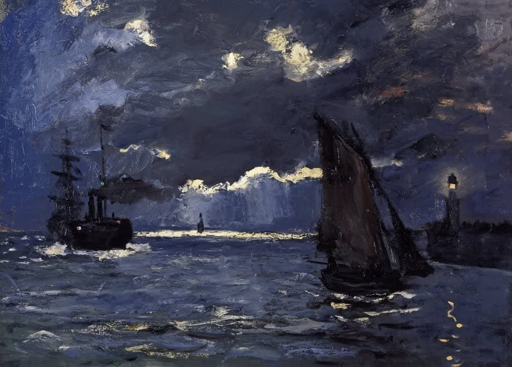 Claude Monet 'A Seascape, Shipping by Moonlight, Detail', France, 1864, Impressionism, Reproduction 200gsm A3 Vintage Classic Art Poster