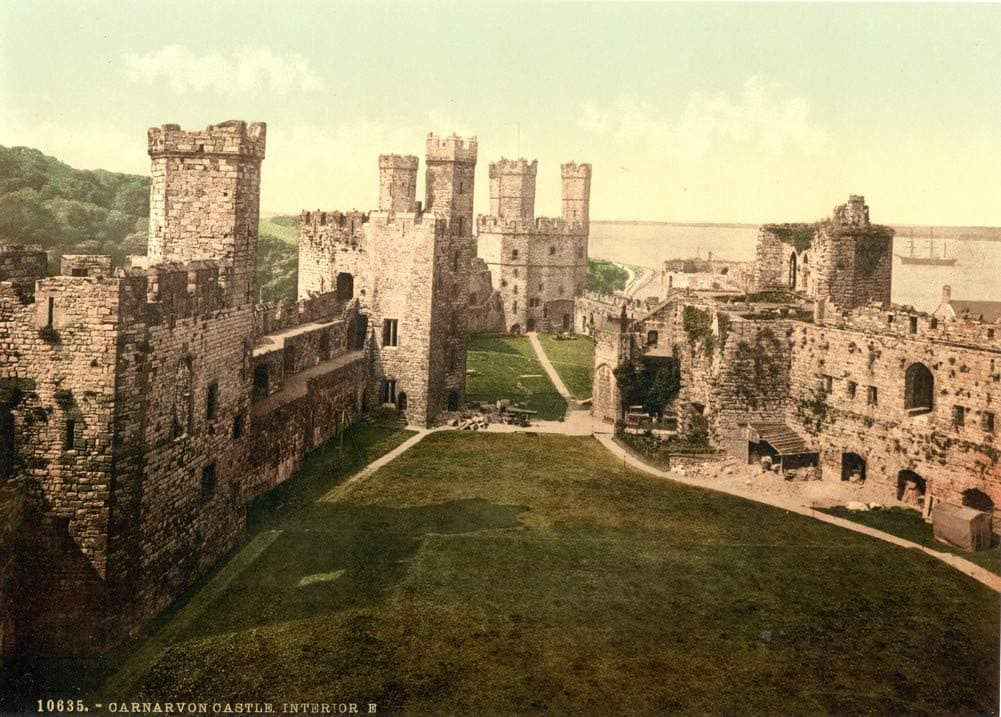 Vintage Travel Wales 'Interior, Looking East, Carnarvon Castle', Circa 1890-1910, Reproduction 200gsm A3 Vintage Photography Travel Poster
