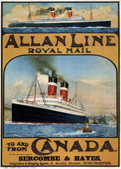 Vintage Travel Canada 'Royal Mail Allan Line to and from England. Agents in Dorchester', 1913, Reproduction 200gsm A3 Vintage Poster