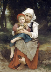William-Adolphe Bouguereau 'Breton Brother and Sister', France, 1871, Reproduction 200gsm A3 Vintage Art Poster