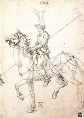 Albrecht Durer 'Lancer on Horseback', Germany, 1502, Reproduction 200gsm A3 Vintage Classic Art Poster