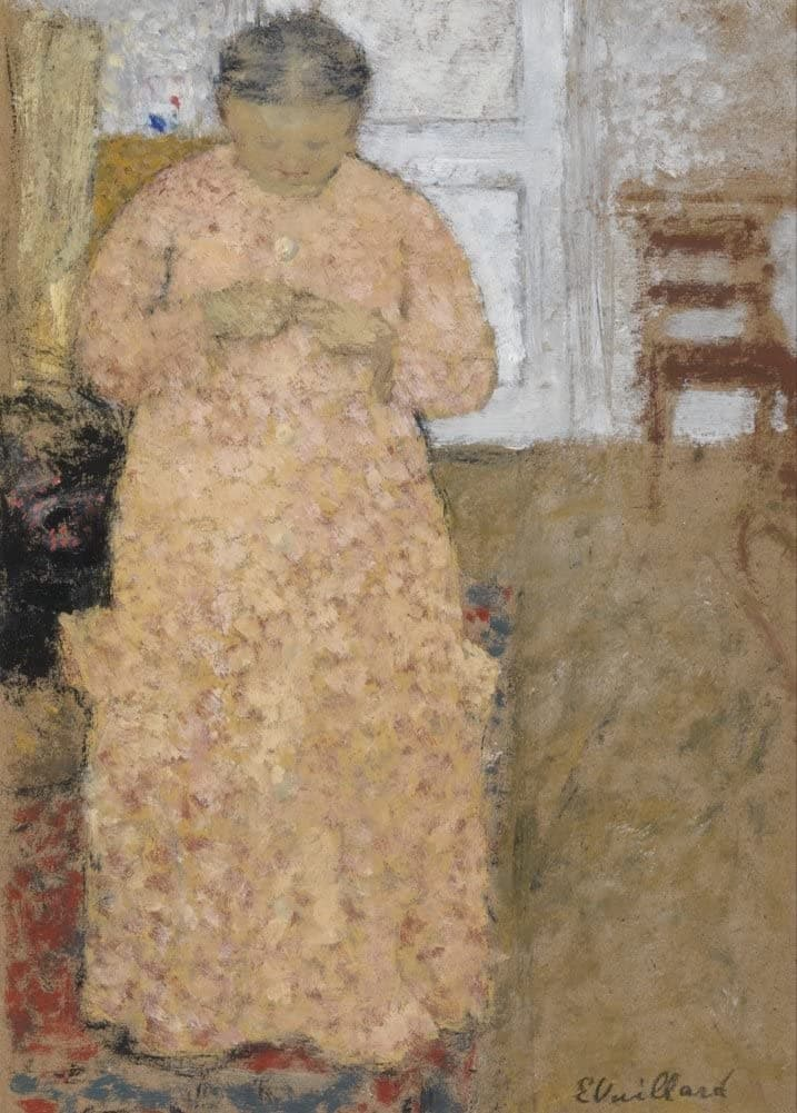 Edouard Vuillard 'Knitting Woman in Pink Dress, Detail', France, 1900-05, Impressionism, Reproduction 200gsm A3 Vintage Classic Art Poster