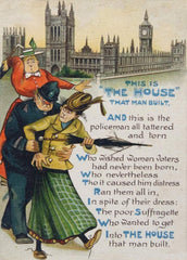 Vintage Anti-Suffragette Propaganda 'This is the House that Man Built', circa. 1905-1918, Reproduction 200gsm A3 Classic Vintage Suffragette Poster