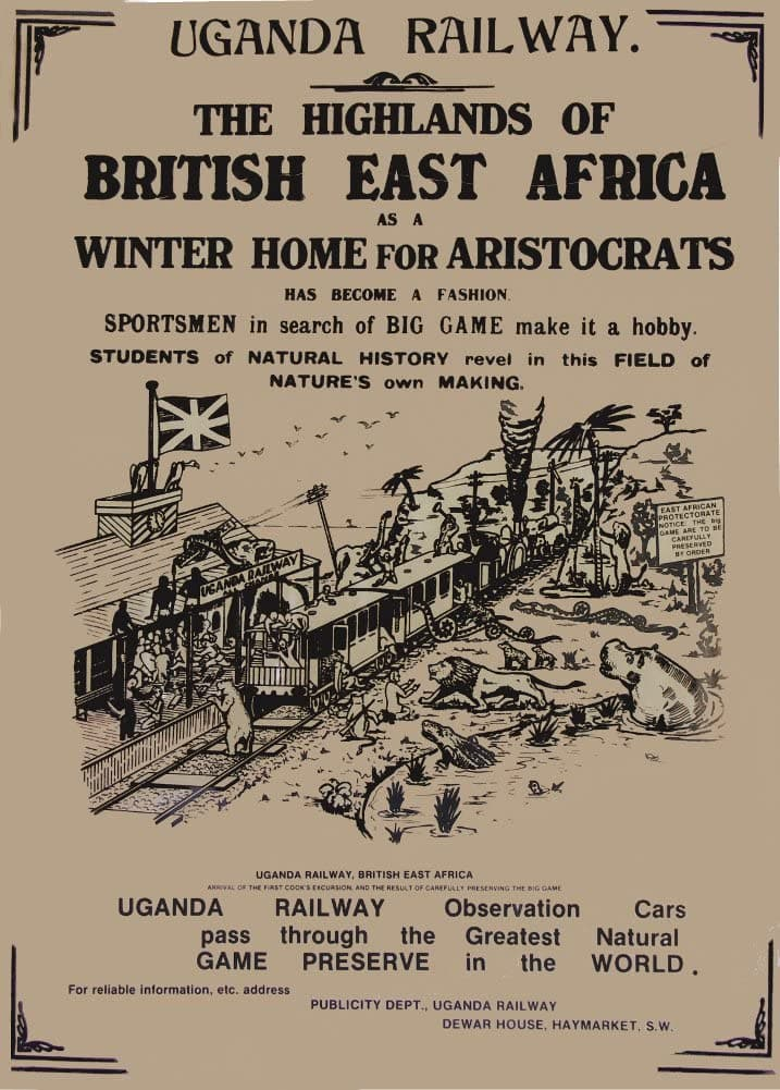 Vintage Travel Africa 'Uganda with Uganda Railway for The Highlands of The British East Africa', Circa. 1900's, Reproduction 200gsm A3 Vintage Travel Poster