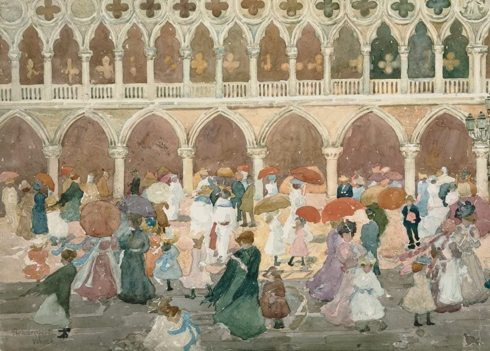 Maurice Brazil Prendergast 'Sunlight on The Piazzetta, Detail', U.S.A, 1898-1899, American Post-Impressionism, Reproduction 200gsm A3 Vintage Classic Art Poster