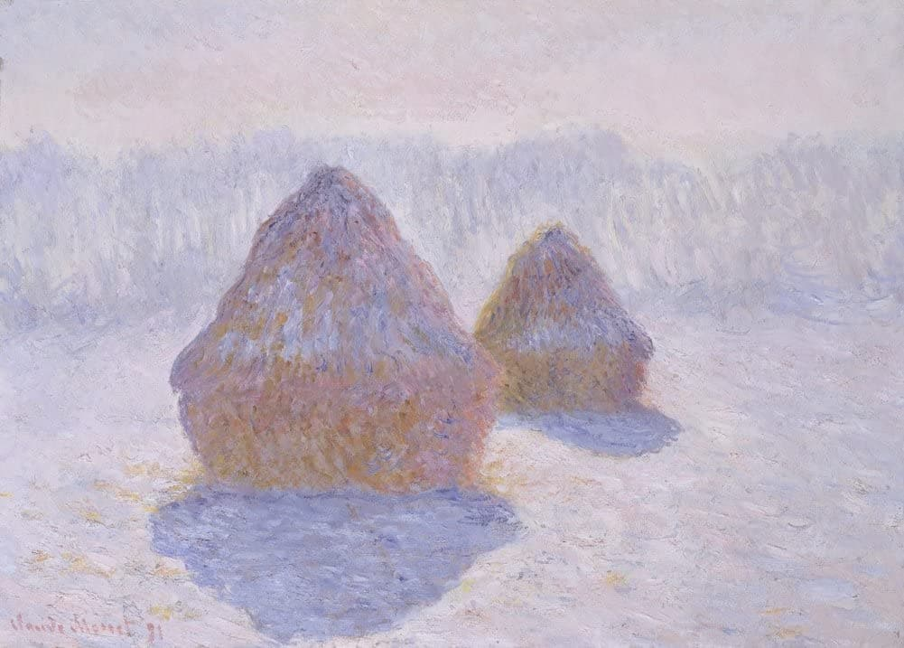 Claude Monet 'Haystacks. Effect of Snow and Sun', France, 1891, Impressionism, Reproduction 200gsm A3 Vintage Classic Art Poster