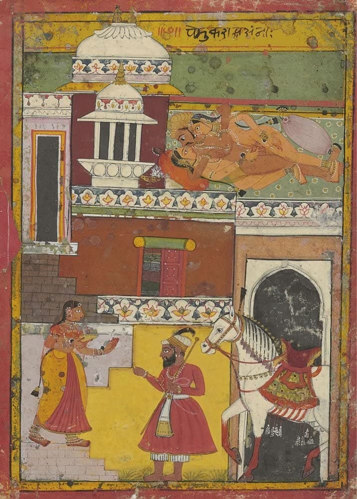 Classic Indian Art 'The Unexpected Return of The Husband', Rajput, Sirohi, 17th Century, Reproduction 200gsm A3 Vintage Poster