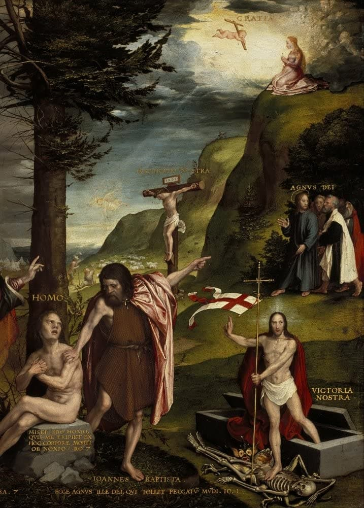 Hans Holbein The Younger 'an Allegory of The Old and New Testaments, Further Detail', Germany, 1530, Renaissance, Reproduction 200gsm A3 Vintage Classic Art Poster