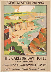 Vintage Travel England 'Cornwall Carylon Bay Hotel with G.W.R', Circa. 1920-30's, Reproduction 200gsm A3 Art Deco Vintage English Travel Poster