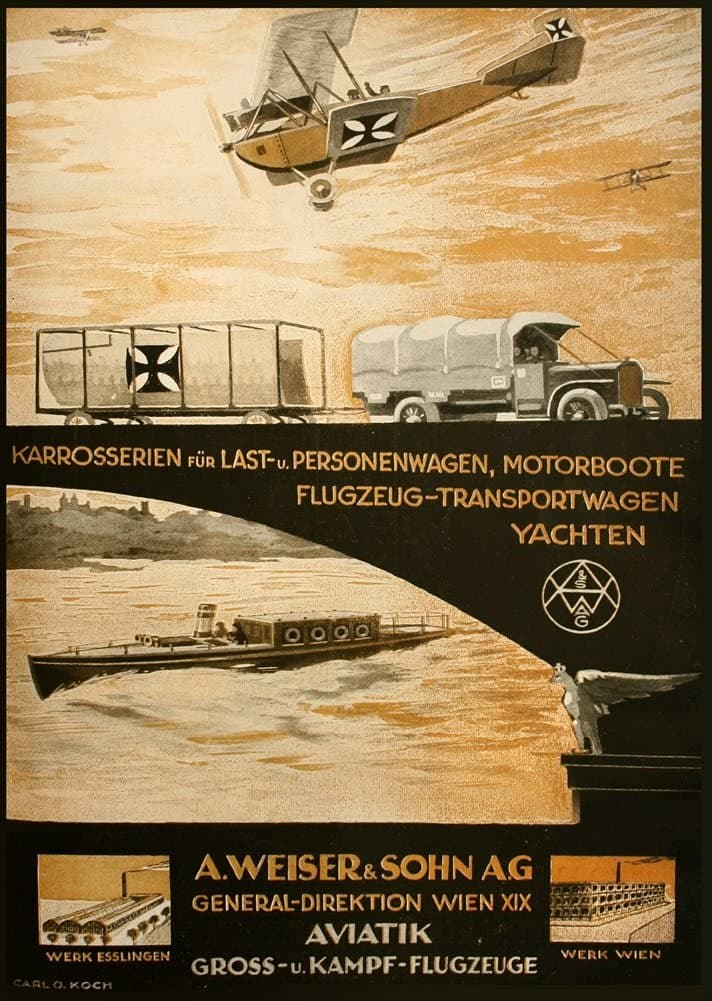 Austrian WW1 1914-18 Aviation 'A. Weiser and Son Aeroplanes, Yachts, Cars, Motorbikes and Trucks', Reproduction 200gsm A3 Vintage Propaganda Poster