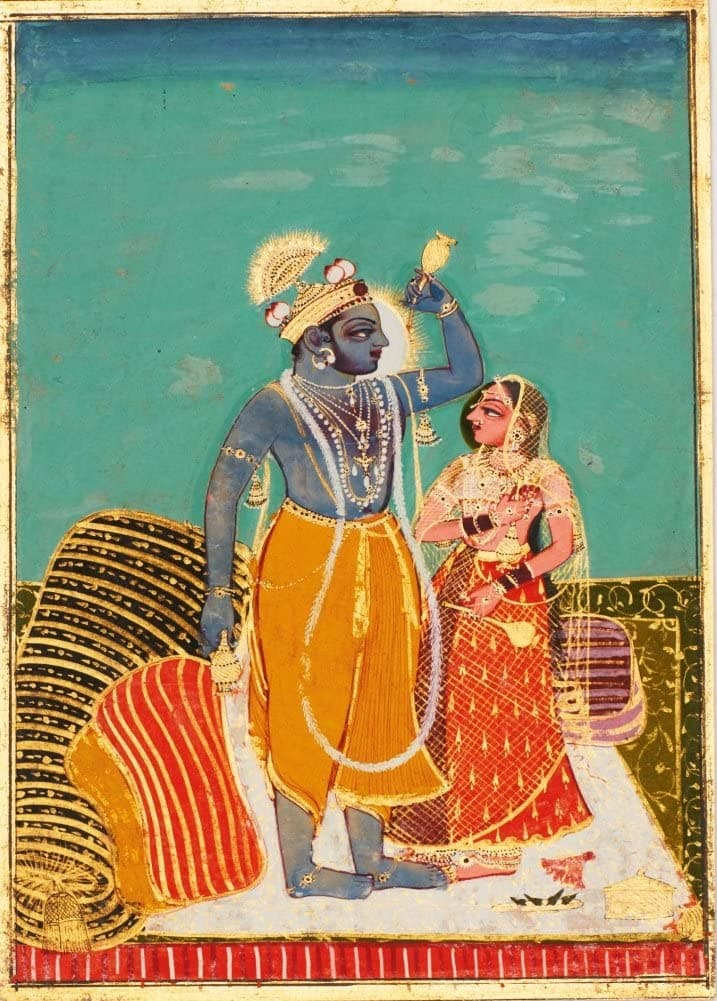 Classic Indian Art 'Krishna and Radha Standing on a Bed', Rajput, Kota, Circa. 1720-40, Reproduction 200gsm A3 Vintage Poster