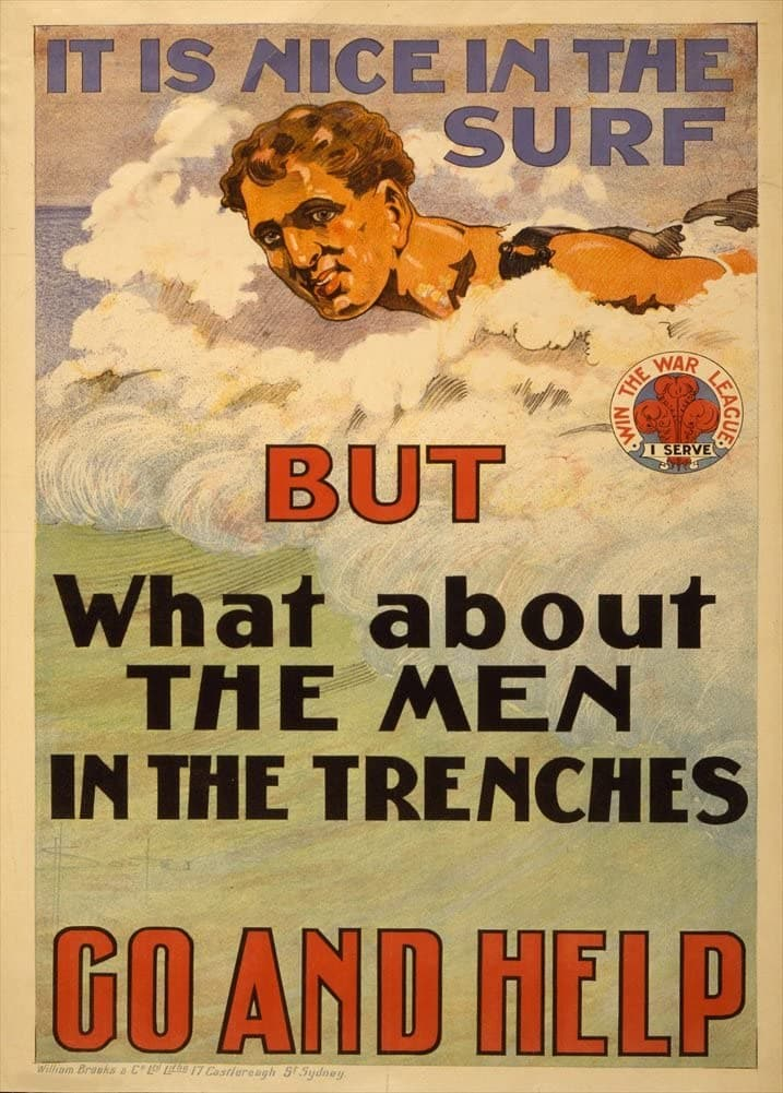 Australian WW1 1914-18 Propaganda 'It's Nice in The Surf but What About The Men in The Trenches?', Reproduction 200gsm A3 Vintage Propaganda Poster