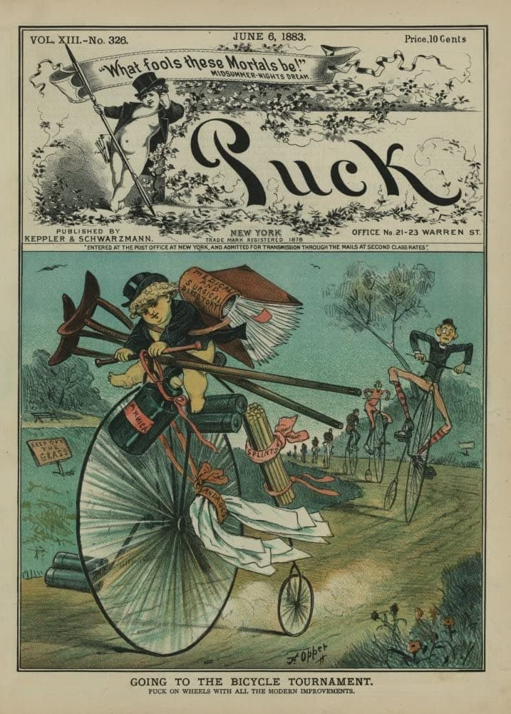 Vintage Cycling 'Going to The Bicycle Tournament', from 'Puck' Magazine, U.S.A, 1883, Reproduction 200gsm A3 Vintage Art Nouveau Cycling Poster