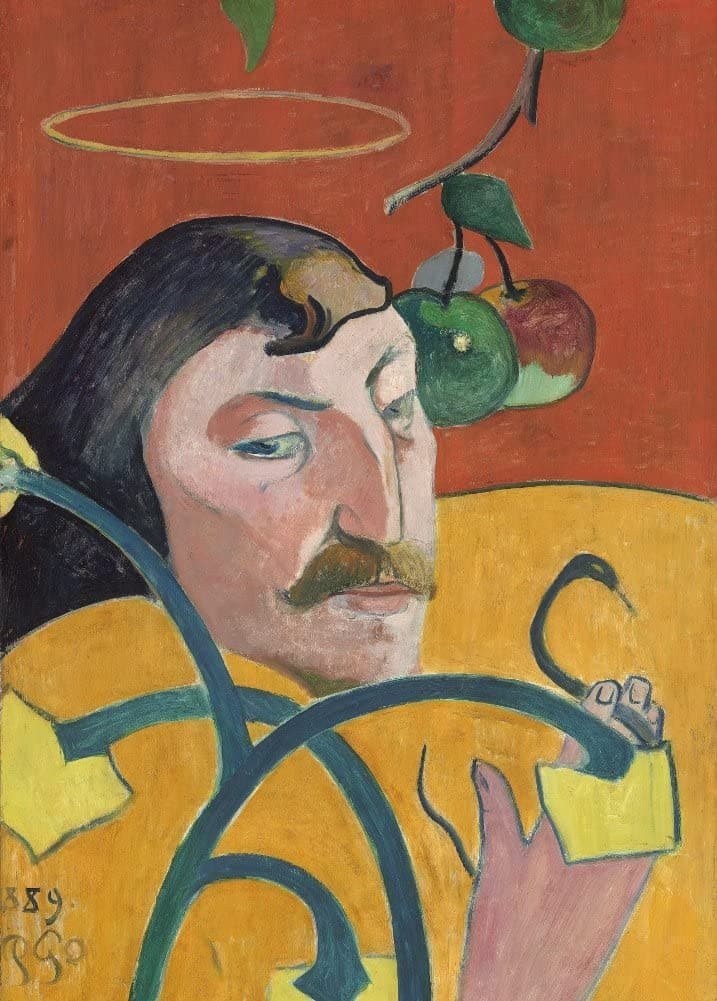 Paul Gauguin 'Self-Portrait with Halo and Snake, Detail', France, 1889, Reproduction 200gsm A3 Vintage Classic Art Poster