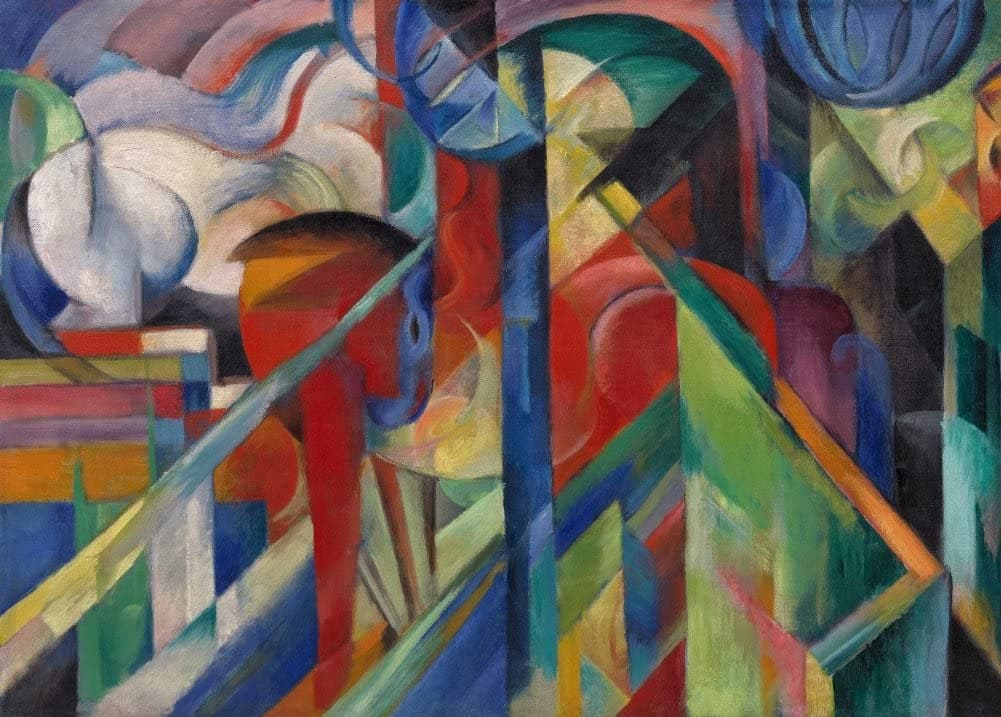Franz Marc 'Stables, Detail', German Expressionism, 1913, Reproduction 200gsm A3 Vintage Classic Art Poster