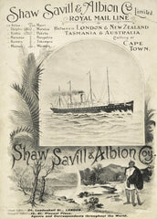 Vintage Travel New Zealand 'London, Tasmania and Australia with Shaw, Saville and Albion Royal Mail Line', 1901, Reproduction 200gsm A3 Vintage Travel Poster