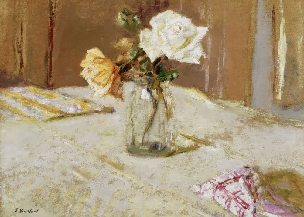 Edouard Vuillard 'Roses in a Glass vase, Detail', France, 1919, Impressionism, Reproduction 200gsm A3 Vintage Classic Art Poster