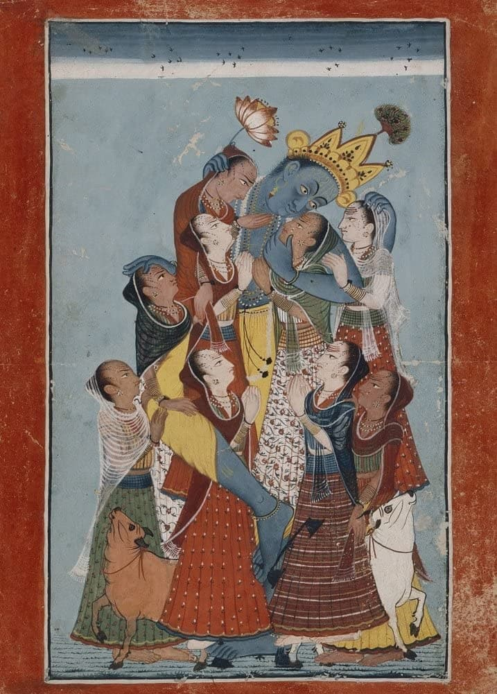 Classic Indian Art 'Gopis Klinging to Krishna' Mani, Early 18th Century, Reproduction 200gsm A3 Vintage Poster
