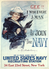 Vintage U.S WW1 Propaganda 'Gee! I Wish I were a Man, I'd Join The Navy', Reproduction 200gsm A3 Vintage U.S Propaganda Poster