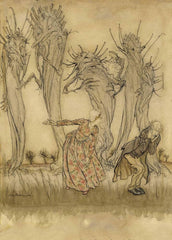 Arthur Rackham 'Angry Wife, Mr, and Mrs, Vinegar from English Fairy Tales', England, 1918, Reproduction Vintage 200gsm A3 Classic Art Poster