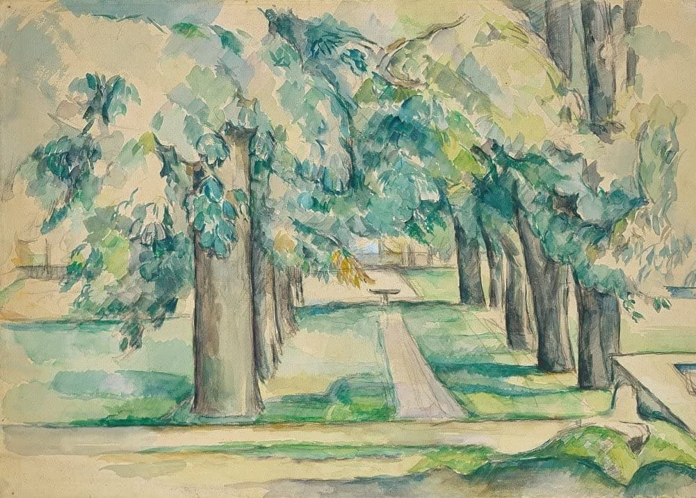 Paul Cezanne 'Avenue of Chestnut Trees at The Jas de Bouffan, Detail', France, 1880, Reproduction 200gsm A3 Vintage Classic Art Poster