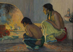 Eanger Irving Couse 'The Evening Meal, Detail', U.S.A, 1918, Reproduction 200gsm A3 Vintage Classic Native American Art Poster