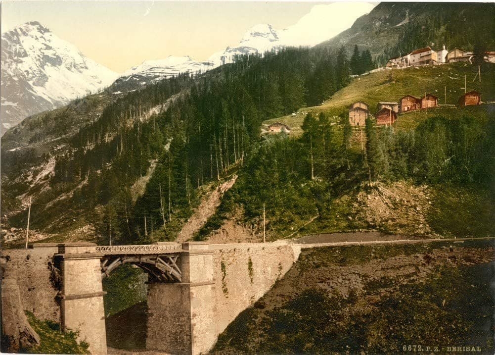 Vintage Travel Switzerland 'Simplon Pass, Berisal, Valais, Alps', Circa 1890-1910, Reproduction 200gsm A3 Vintage Photography Travel Poster