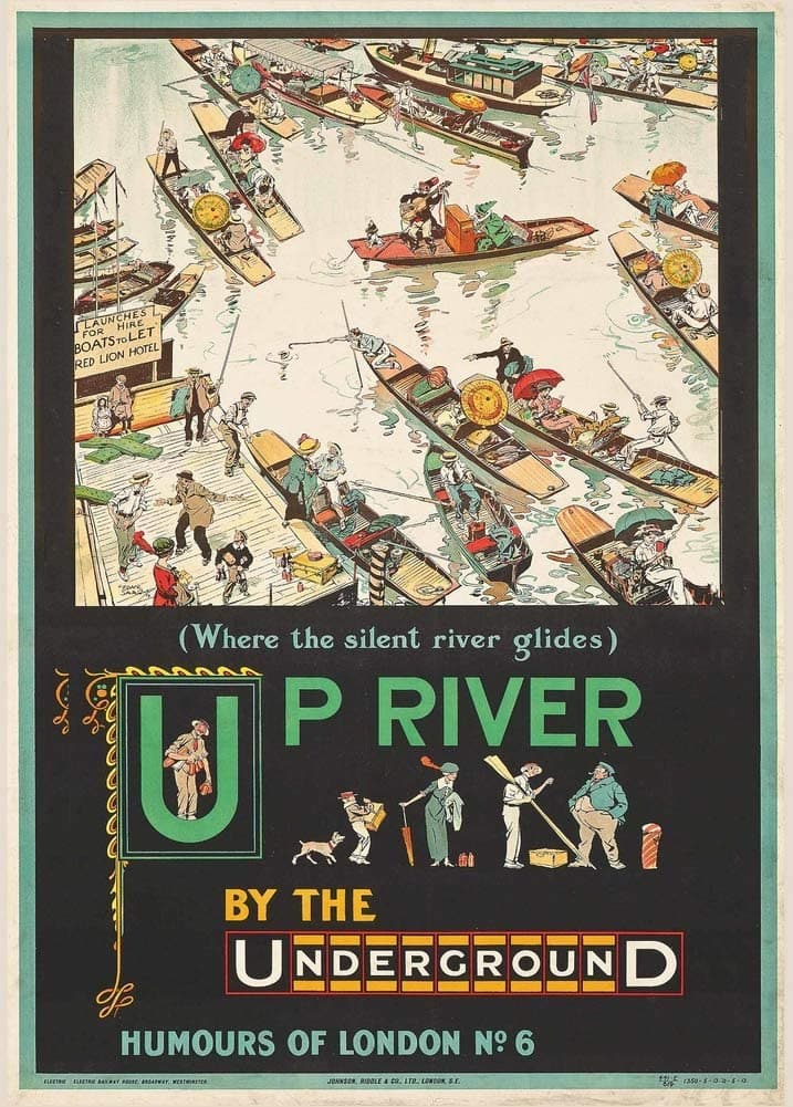 Vintage London Underground 'Up River by Underground', 1913, Reproduction 200gsm Classic English Travel Poster