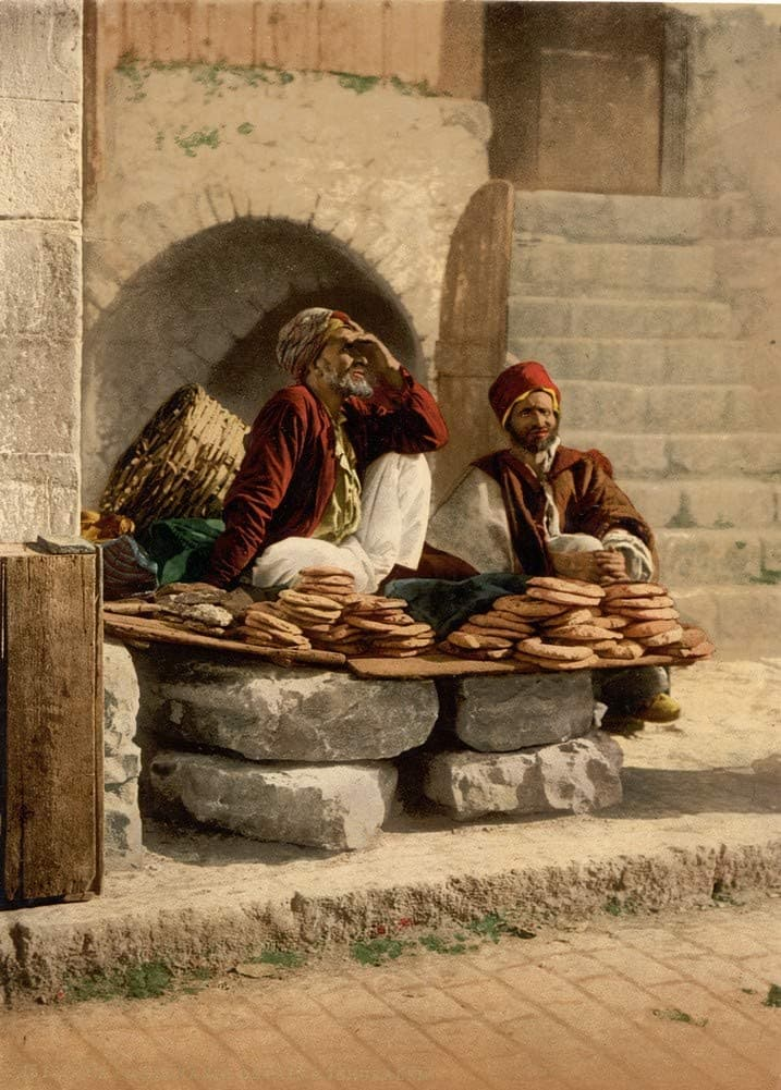 Bread Seller of Jerusalem, Holy Land Antique Photo, 1890's, Reproduction 200gsm A3, Israel, Palestine, Vintage Travel Poster
