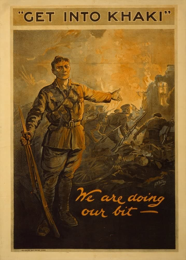 Australian WW1 1914-18 Propaganda 'Get into Khaki. We are Doing Our Bit', Reproduction 200gsm A3 Vintage Propaganda Poster