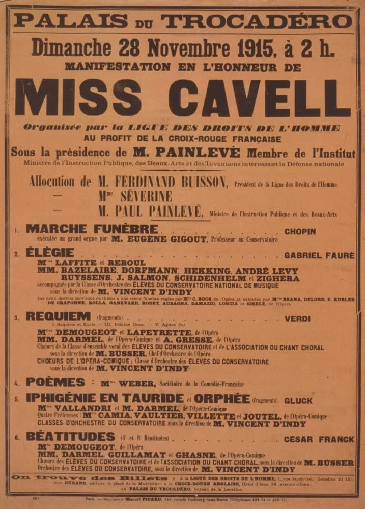 Vintage French WW1 Propaganda 'Public Demonstrations in Honour of Miss Cavell', France, 1914-18, Reproduction 200gsm A3 Vintage French Propaganda Poster