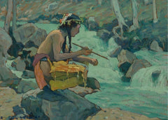Eanger Irving Couse 'Indian by a Stream, Detail', U.S.A, 1933, Reproduction 200gsm A3 Vintage Classic Native American Art Poster