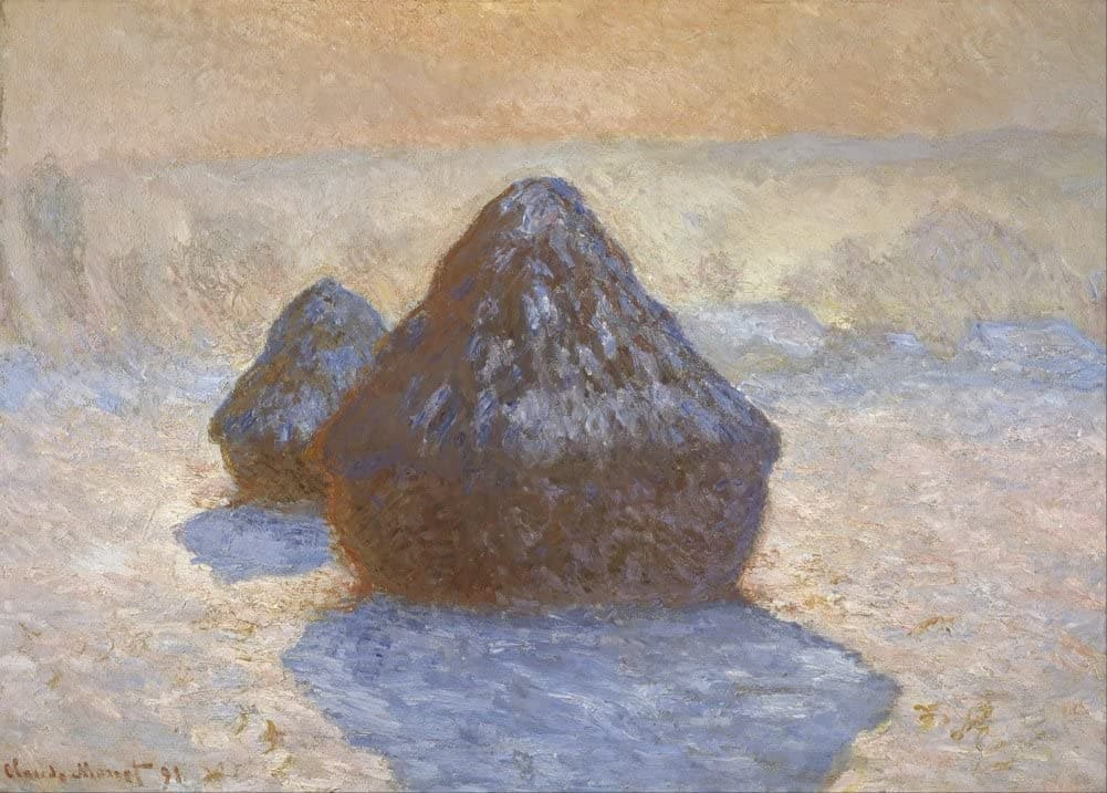 Claude Monet 'Haystacks, Snow Effect', France, 1891, Impressionism, Reproduction 200gsm A3 Vintage Classic Art Poster