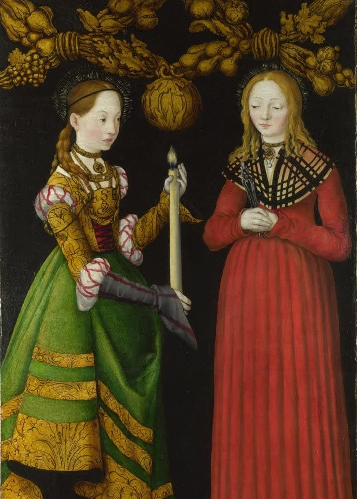 Lucas Cranach The Elder 'Saints Genevieve and Apollonia, Detail', 1500's, Germany, Reproduction 200gsm A3 Vintage Classic Art Poster