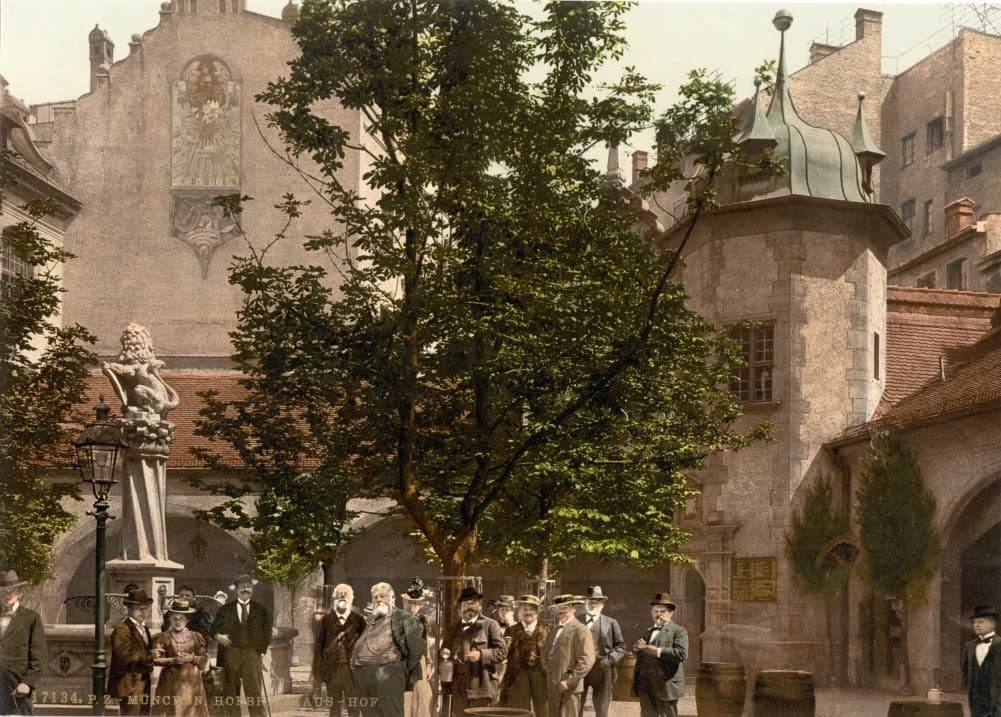Vintage Travel Germany 'The Court, Hofbrauhaus, Munich, Bavaria', 1890's, Reproduction 200gsm A3 Photography Travel Poster