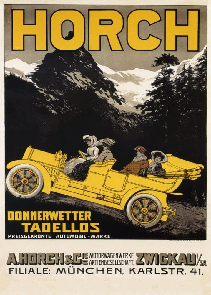 Vintage Automobile 'Horch Automobiles, Munich', Germany, 1908, Reproduction 200gsm A3 Vintage Automobile Poster
