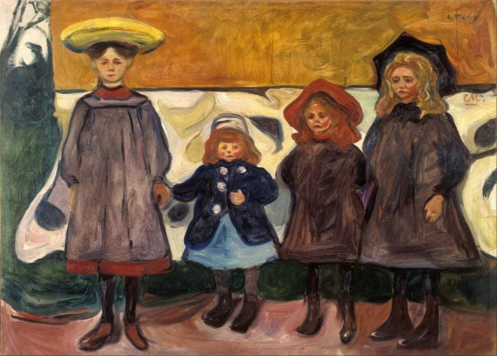 Edvard Munch 'Four Girls in Asgardistrand', Norway, 1904, Reproduction 200gsm A3 Vintage Classic Art Poster