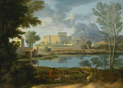 Nicolas Poussin 'Landscape with a Calm', France, 1650-51, Reproduction 200gsm A3 Vintage Classic Art Poster