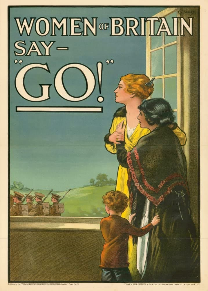 Vintage British WW1 Propaganda 'Woman of Britain Say Go!', England, 1914-18, Reproduction 200gsm A3 Vintage British Propaganda Poster