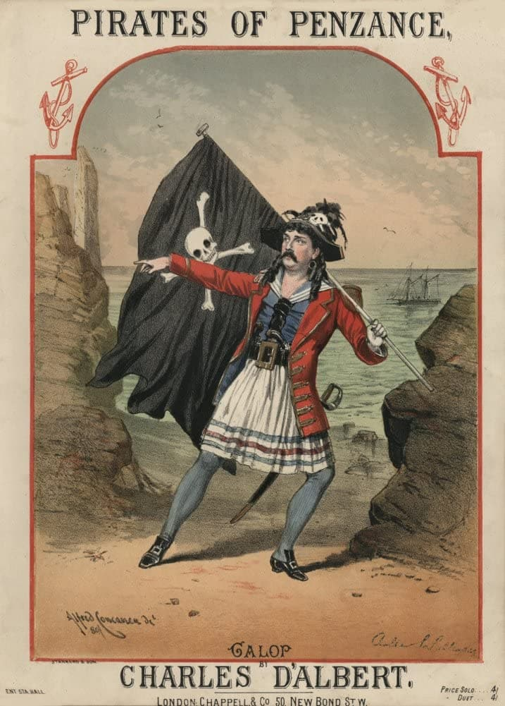 Vintage Classical Music and Opera 'The Pirates of Penzance', by Gilbert and Sullivan, England, 1880, Reproduction 200gsm A3 Vintage Music Poster