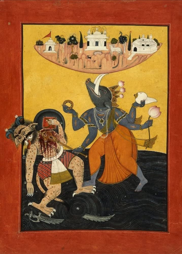 Classic Indian Art 'Varaha Killing a Sea Demon', Pahari, Circa. 1700-1710, Reproduction 200gsm A3 Vintage Poster