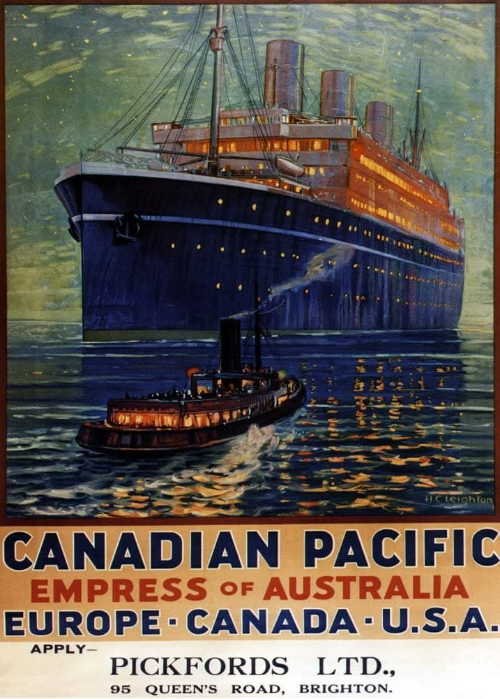Vintage Travel Canada 'Canadian Pacific Also to Europe and America on The Empress of Australia', 1920-30's, Reproduction 200gsm A3 Vintage Art Deco Poster