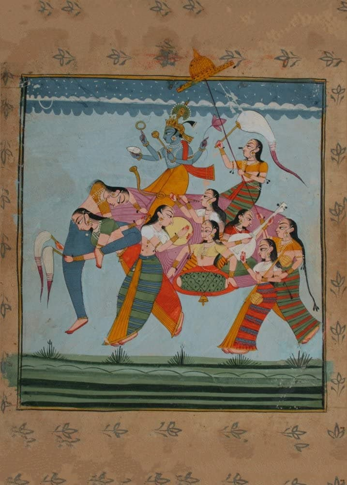 Classic Indian Art 'Vishnu Riding an Elephant Composed of Female Musicians and Attendants', Marwar, Rajasthan, Circa. 1850, Reproduction 200gsm A3 Vintage Poster