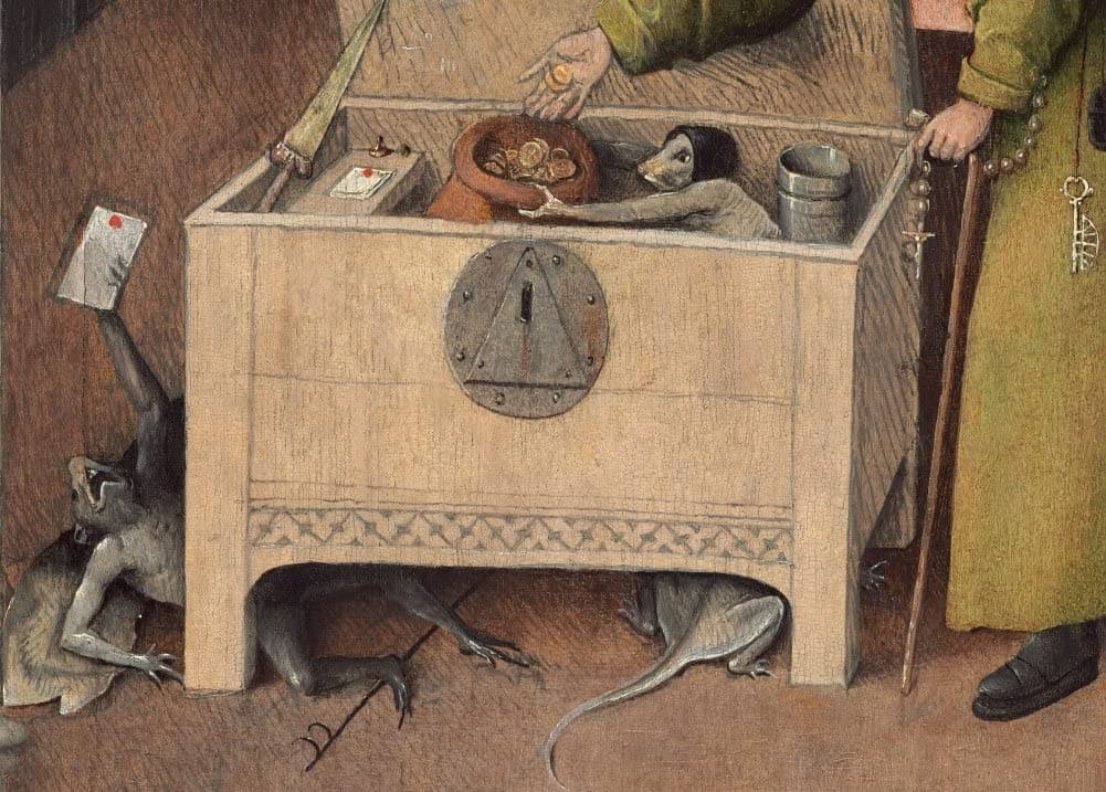 Hieronymus Bosch 'The Accountant's Assistant, from Death and The Miser, Detail', Netherlands, 1485-90, Reproduction 200gsm A3 Vintage Classic Art Poster
