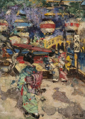 Edward Atkinson Hornel 'Figures with Lanterns and Bridge in Japan', 1894, Scotland, Reproduction 200gsm A3 Vintage Classic Art Poster